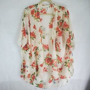 Emory Park M Open Floral White See ThrouCardigan